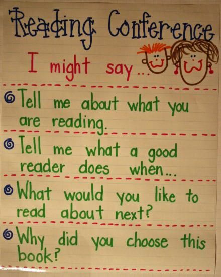 Would be good on a mini-chart to carry with you. This anchor chart is great for increasing students' understanding of the type of questions they will be asked during reading conferences.