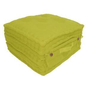 Coussin de sol 3 plis 100% coton 60x60x180 cm - Vert anis