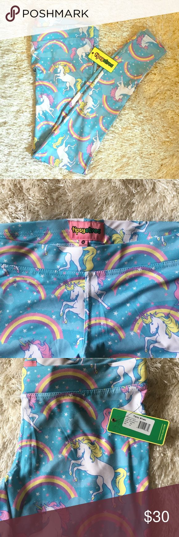 Tipsy Elves Rainbow Unicorn Medium Leggings Super cute 95% Polyester, 5% Spandex Rainbow and Unicorn Leggings Tipsy Elves Pants Leggings