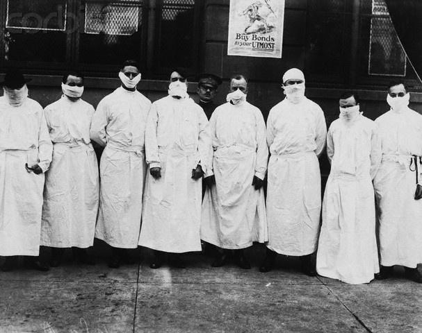 "Doctors Wear Surgical Gowns and Masks - U80057INP - Rights Managed - Stock Photo - Corbis. Doctors, army officers, and reporters wear surgical gowns and masks while making a tour of a hospital to observe Spanish influenza treatment of patients. The poster by E.M. Ashe behind them reads, ""Buy Bonds to Your Utmost."""