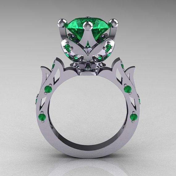 Modern Antique 10K White Gold 3.0 Carat Emerald by artmasters, $899.00