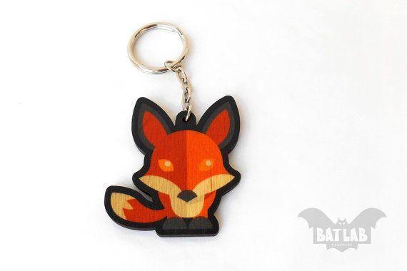 Animal Keychain from wood Red fox keychain Animal lovers by BatLab