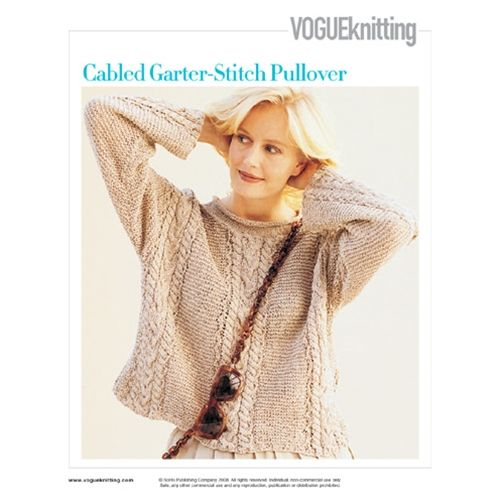 Cabled Garter-Stitch Pullover pattern by Adrienne Vittadini