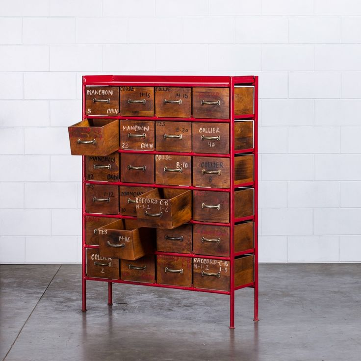 Jorma Industrial Chest of Drawers - Red  | RP: $699.00