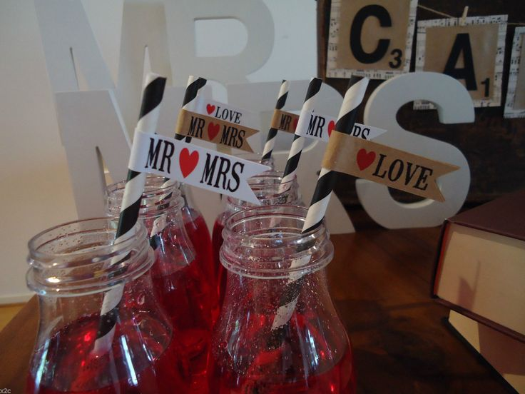 20 Flags Tags MR MRS Love Wedding Party Flags FOR Straws OR Sparklers Retro | eBay