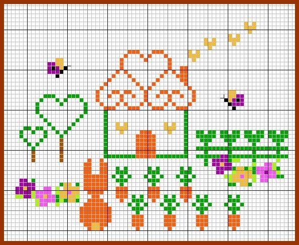 Casa, cenouras e coelho