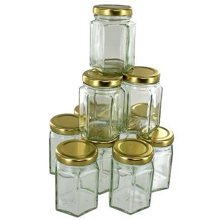 Hexagonal Glass Jar 110ml 12 Pack Clear