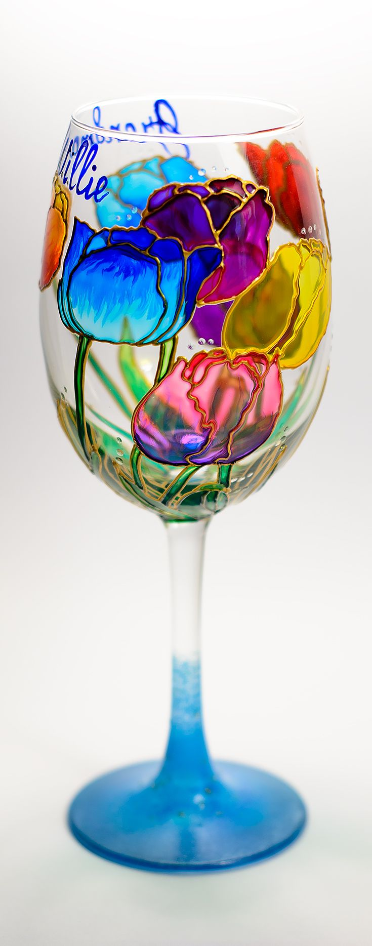 Floral wine glasses personalized, Tulips Wine Glass with saying, Bridal Party Wine Glasses Hand Painted Toasting Glass Flower Wedding Shower