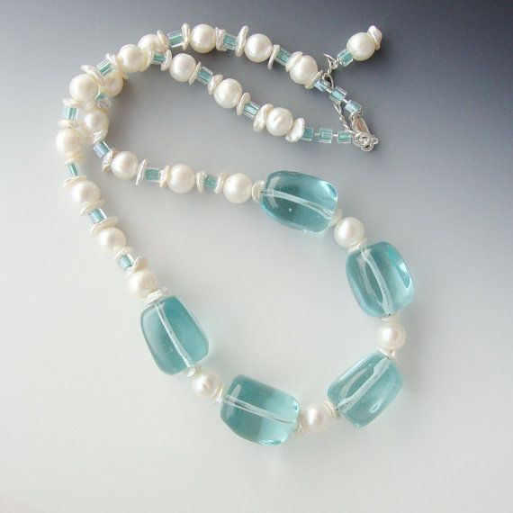 Pearls Blue Quartz Glass Necklace Sterling by CalliopeAZCreations, $52.00