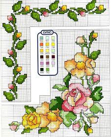 Schemi a punto croce gratuiti per tutti: Schema punto croce con mazzo di rose per tovaglie