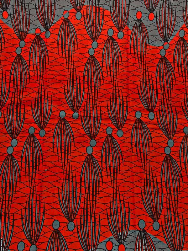 Wholesale Latest Real Wax Print Fabric Red Grey Waterweeds 6 Yards Party rw0106_1