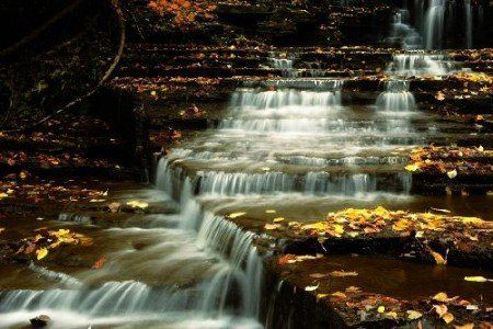 Goldene Treppe-Wasserfallposter | Bilder Web