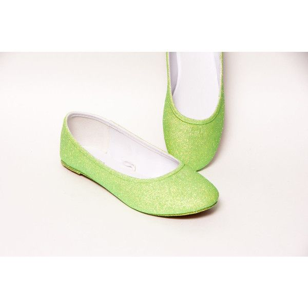 Glitter Key Lime Green Ballet Flats Slippers Shoes ($50) ❤ liked on Polyvore featuring shoes, flats, ballet shoes, silver, slip ons, women's shoes, ballet pumps, ballerina pumps, glitter slip on shoes and clear ballet flats