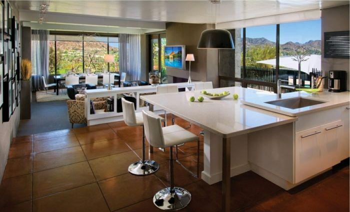 wohnküche mit coolem farbkontrast