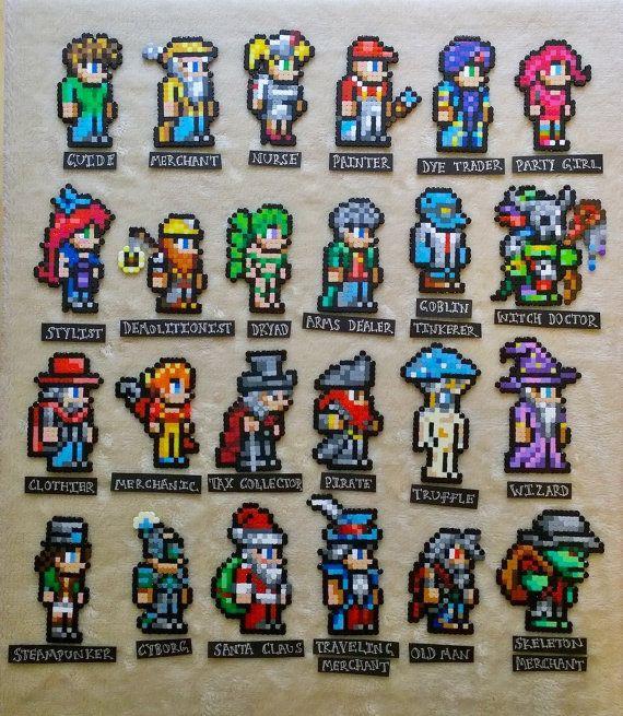 Personajes de terraria Perler imanes