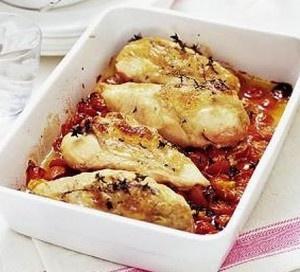 Ovenschotel met kip, geitenkaas en Honingtomaten®