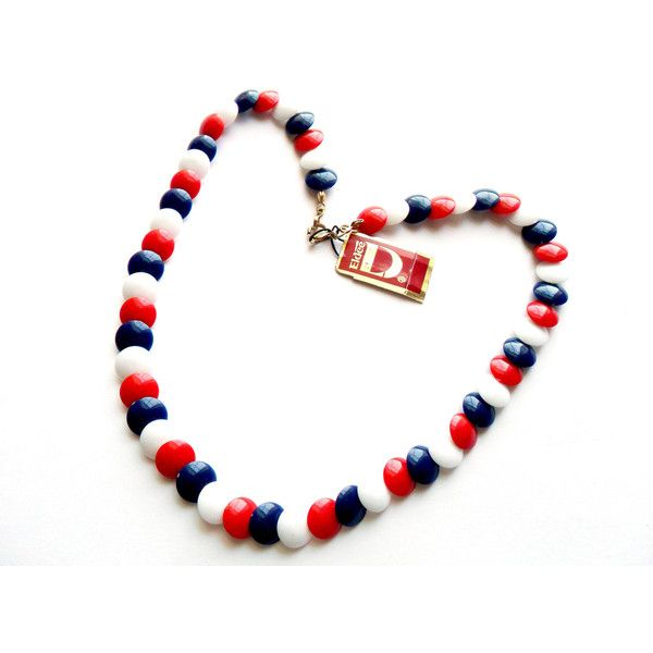 Vintage Red White Blue Necklace Beaded NWT Deadstock Eldee Patriotic... ($12) ❤ liked on Polyvore featuring jewelry and necklaces
