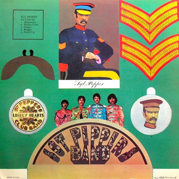 Album packaging from Sgt. Pepper's Lonely Hearts Club Band, the eighth studio album by The Beatles. Art direction by Robert Fraser, design by Peter Blake and Jann Haworth and photography by Michael Cooper. It won the 1967 Grammy Award for Best Album Cover.