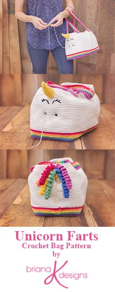 This Unicorn Farts Crochet Project Bag Pattern by Briana K Designs features unique grommet holes so yarn can stay organized and clean inside the bag while you work on your project. Fun and functional this bag is sure to turn heads and start a lively conversation.