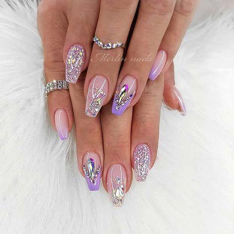 pretty gel nails with rhinestones in 2020  pretty gel