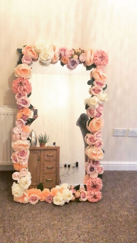 Large Flower Decorated Full Length Wall Mirror Flower