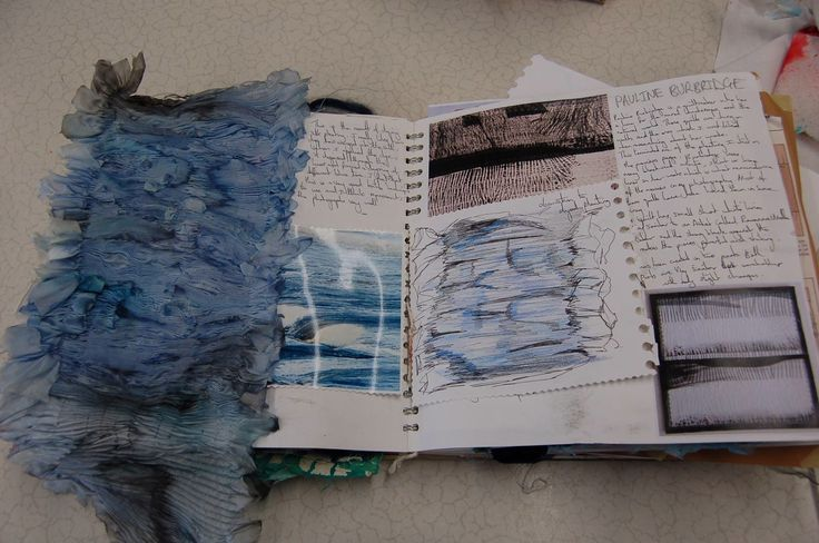 Textiles Sketchbook with design research + dyed & manipulated fabric sample; art portfolio // Jenni Sneddon
