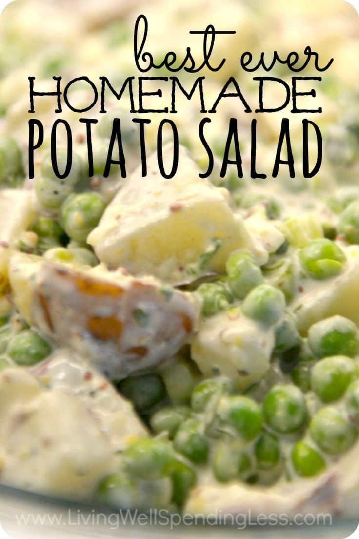 Everyone needs a go-to potato salad recipe!  The dressing is the perfect combination of tangy vinegar and creamy mayonnaise, with the zip of coarse Dijon mustard thrown in for good measure.  Peas add flavor and color, while the red potatoes have a great firm texture with no peeling required.  In a word?  Perfection.  Add it to the menu at your next barbecue and let this side dish take center stage.