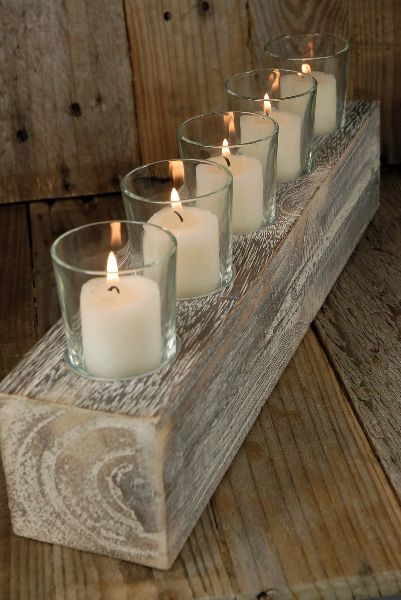 "16"" Wood Block Votive Holder & Five Glass Votive Cups $12 These are for the head table along with mason jars wrapped in lace for the bride/bridal party's bouquets."