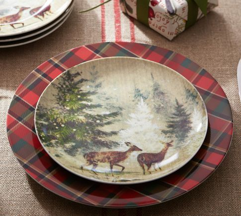 Love These Tartan Plates And Deer In Snow Salad