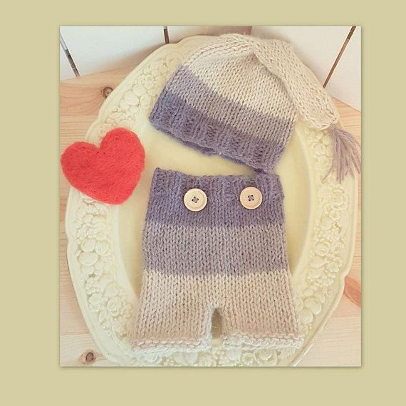 Super snuggly and fluffy baby elf hat and shorts set Soft stripes in brown, beige and coffee cream  Ribbed at the waist, with two little wooden buttons - just for fun Sweet sleepy cap, with small tassel on the end  Team the set with a cute little T-shirt for everyday wear, or on