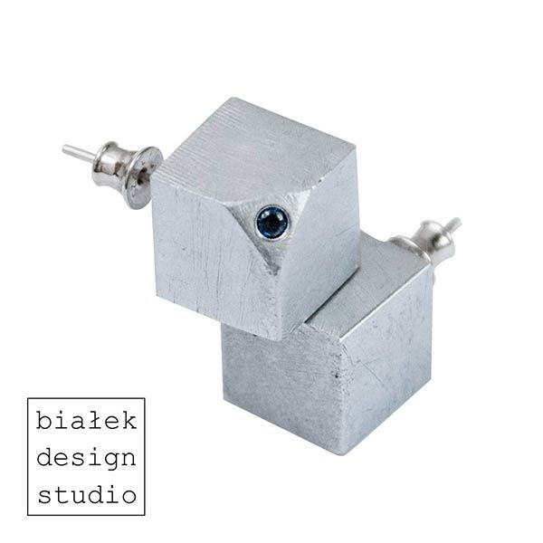 """Earrings """"Cubes"""" made by Białek Design Studio.  Dimensions - 12mm x 12mm Weight - 2x5g  - contemporary jewelry"""