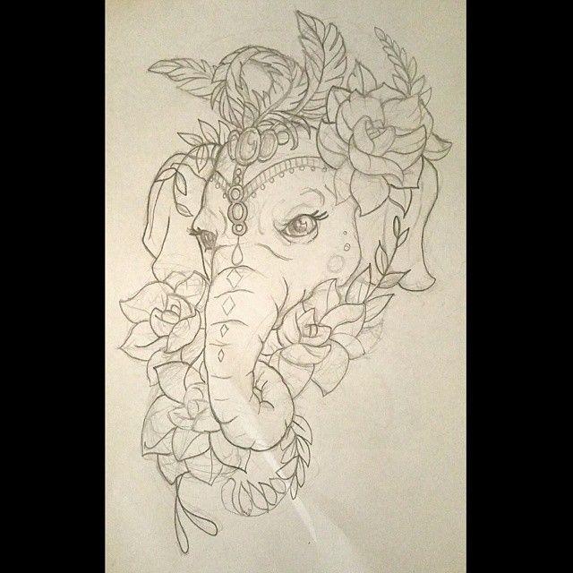 A sketch for one of fridays tattoos #tattoo #tattoos #elephant #elephanttattoo #flower #flowertattoo #art #illustration #design #pencilsketch #circus #parade #festival #lotus #calftattoo #coverup...