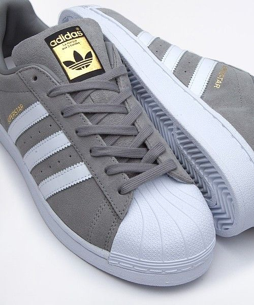 adidas Originals Superstar Suede Trainer | Grey / White | Drome