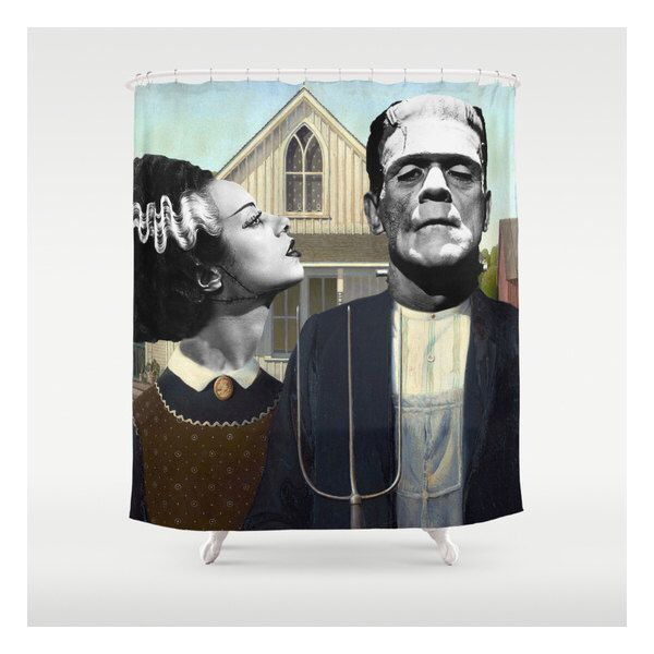 Frankenstein & Bride - American Gothic /  Custom Made - Shower Curtains - Unique Shower Curtains - Bathroom Accessories by CabinetPrettyThings on Etsy https://www.etsy.com/listing/227151664/frankenstein-bride-american-gothic