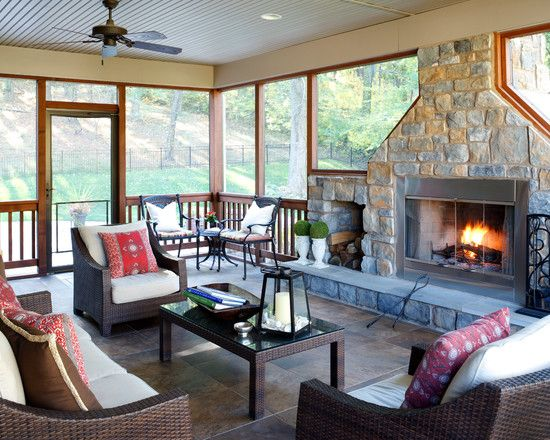 Creative design and concept of 3 season room homesfeed for Screened porch furniture layout