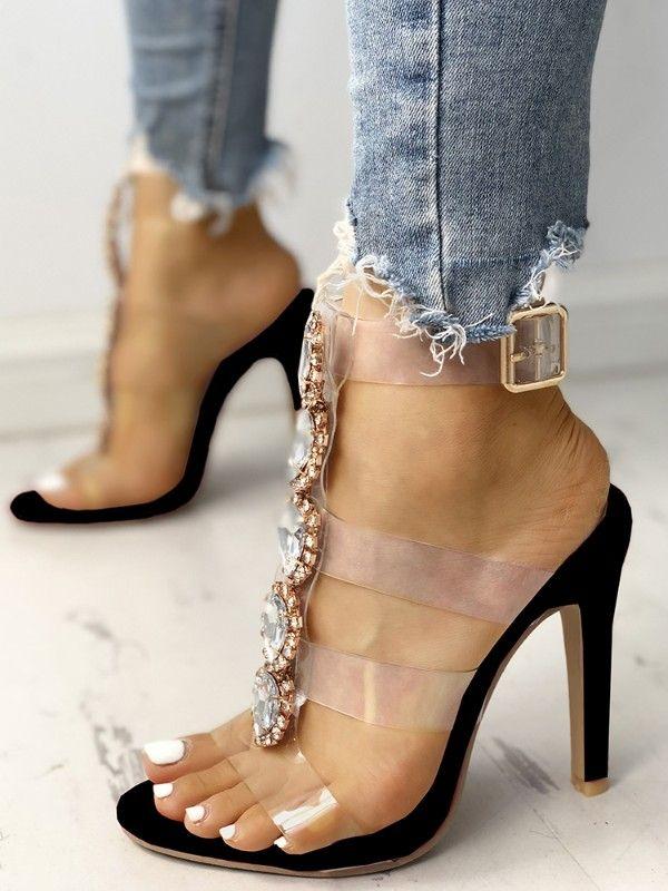Embellished heeled sandals, Heels