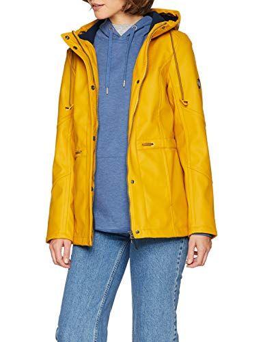 Cecil Damen Regenjacke 201127 Gelb (Sunset Yellow 11298) Small. Leicht  taillierte Regenjacke von 476c4fe132