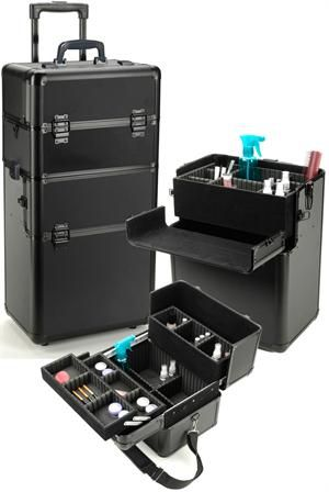 Aluminum Cosmetic Rolling Case Black w/Black [CASE47] - $158.95 : ProBeautyKit.com, Cosmetology Kits, Cosmetology State Board Kits, Beauty and Barber Supplies, Salon Equipment or Furniture, Embroidery and Printing, Wholesale and Retail