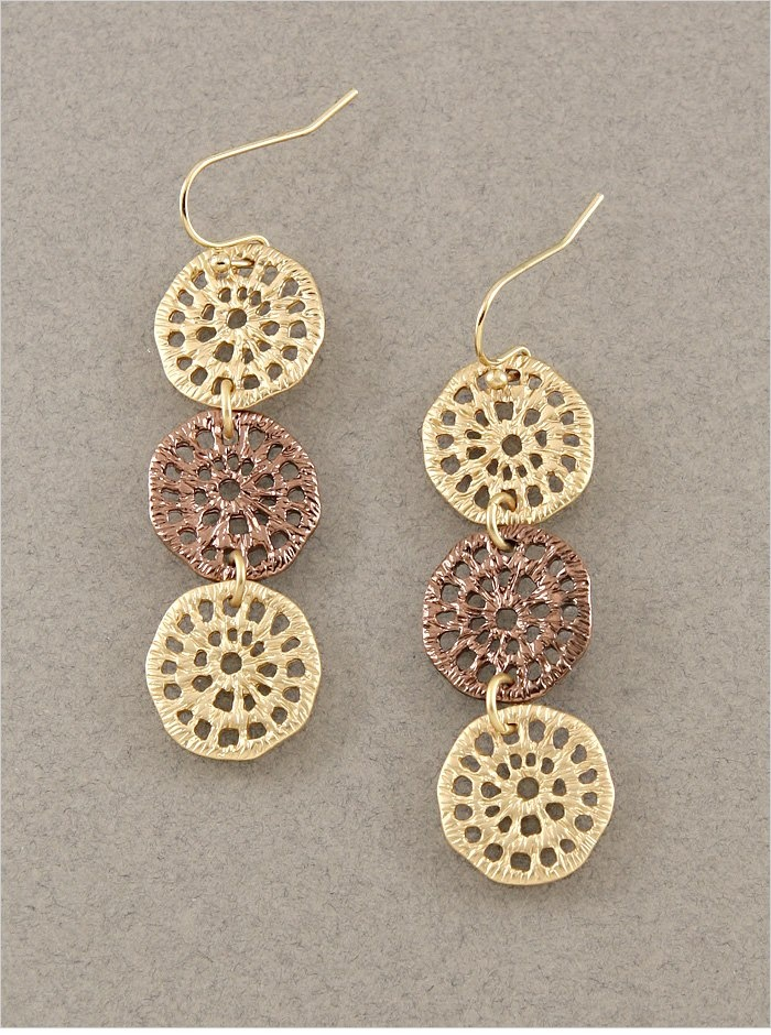 "Matte Gold and Copper Triple Lotus Earrings  1.75"" Long  Quantity: 2  $12.00"