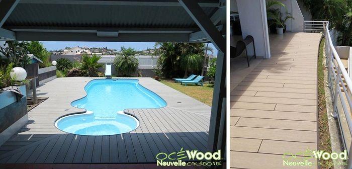 plage de piscine design en bois composite