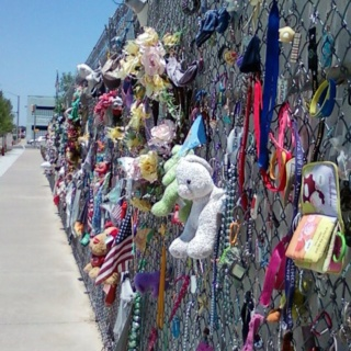 Fence surrounding the Oklahoma City bombing memorial. No words.