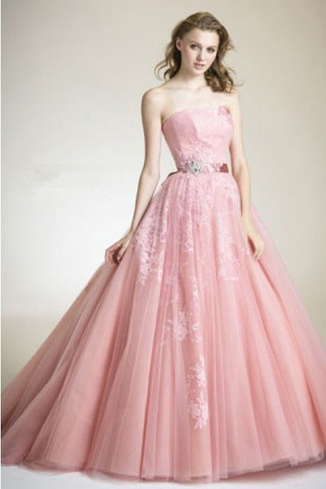 Dathybridal 魅力的な ピンク ストラップレス チュール サッシ ファスナー アップリケ #ボールガウン スウィープ #カラードレス Cly0048 - P0048