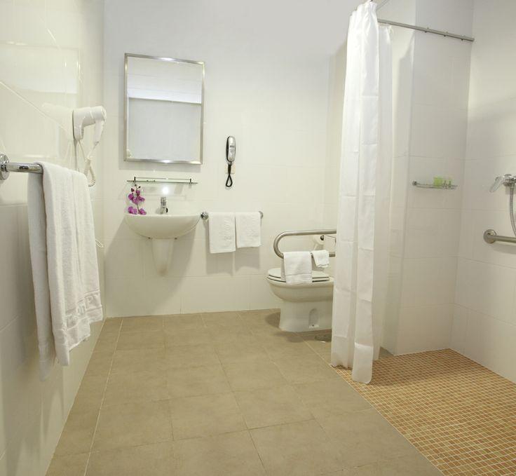 Wheelchair accesible room's bathroom. Hotel PYR Marbella, Puerto Banus, Marbella, Costa del Sol, Andalucia, Spain