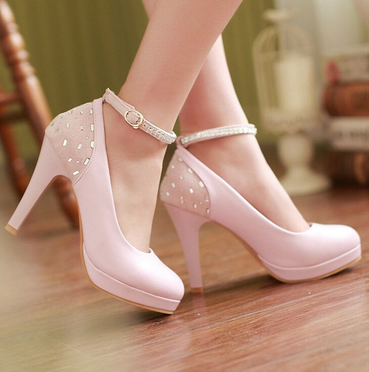 Pink high heels shoes