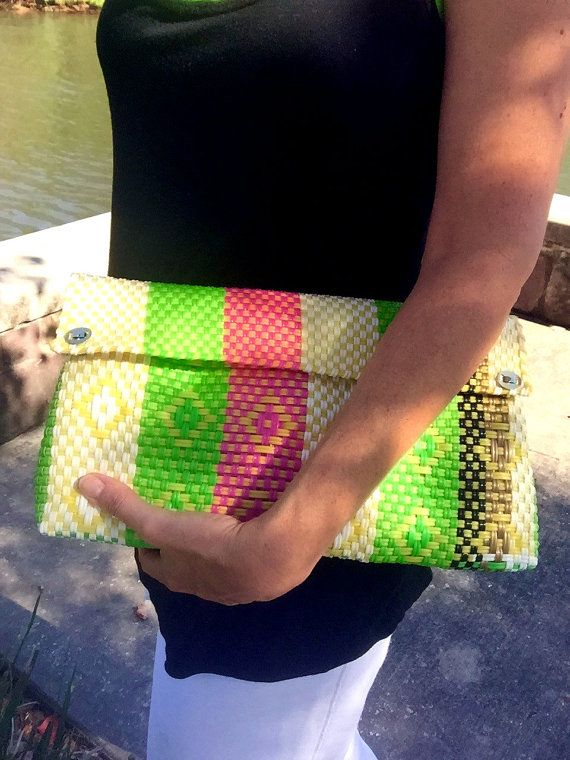 Woven plastic bag,Recycled Plastic Bag Clutch