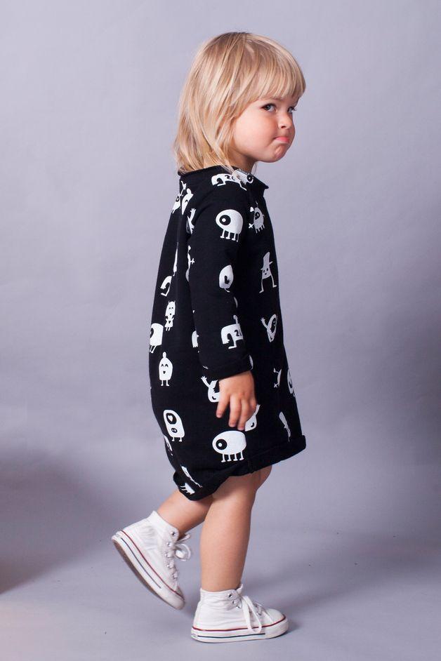SUKIENKA DZIECIĘCA MONSTERY CZARNA - mamatu - Sukienki dla dziewczynek