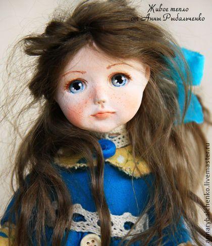 Мишель - бежевый,бирюзовый,девочка,девочка с мишкой,коллекционная кукла