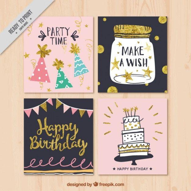 Recolha de cartão de aniversário retro decorativo Vetor grátis