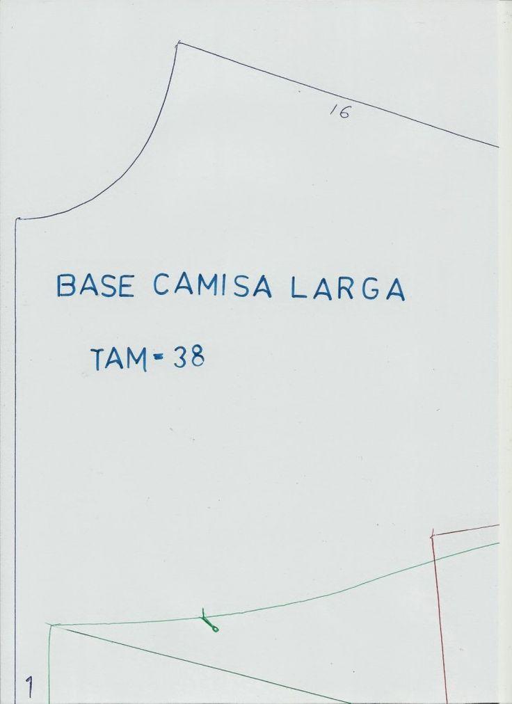 MOLDE BASE CAMISA LARGA TAMANHO 38 - Moldes Moda por Medida