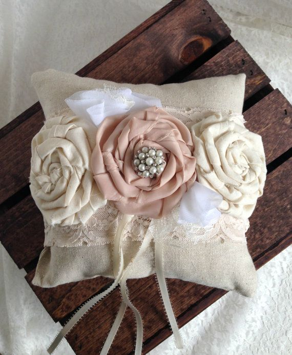 Lace Ring Bearer Pillow Shabby Chic Ring Bearer by MoreThanLace